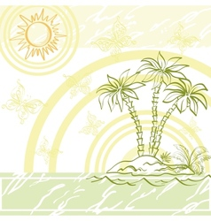 Exotic background island a with palm vector
