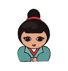 cute portrait kokeshi doll lovely vector image