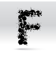 Letter f formed by inkblots vector