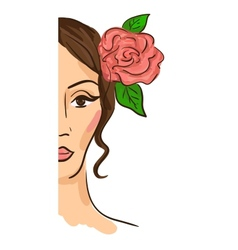 Half face woman vector