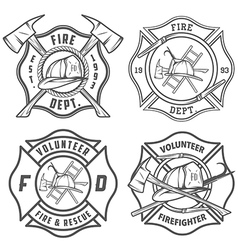 Set of fire department emblems and badges vector