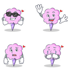 Cotton candy character set with cool waving afraid vector