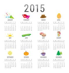calendar 2015 cartoon cute vector image