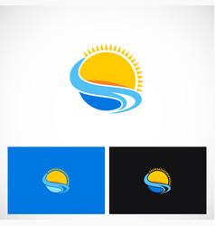 summer sun beach logo vector image