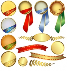 Collection awards with ribbons vector