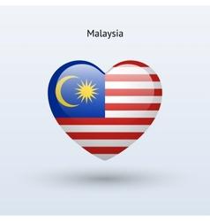 Love Malaysia symbol Heart flag icon vector image