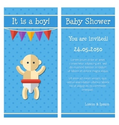 flat design cute baby shower template vector image