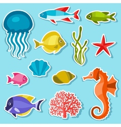Marine life set of sticker objects and sea animals vector