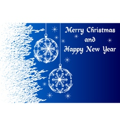 Blue merry christmas and happy new year vector
