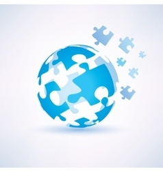 Globe made of puzzle piecies business and vector