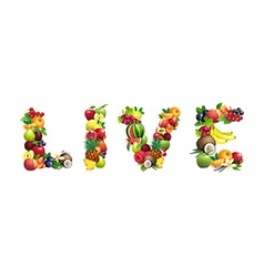 Word live composed of different fruits with leaves vector