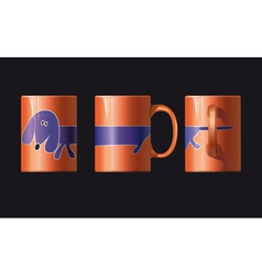 orange cup with a picture of dogs shown from three vector image