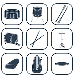 Drum icons silhouette isolated vector
