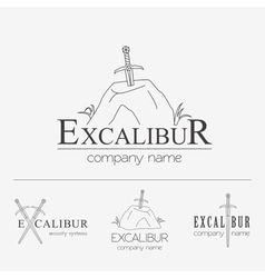 Excalibur outline Insignias and Logotypes set vector image