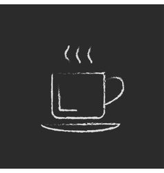 Cup of hot drink icon drawn in chalk vector