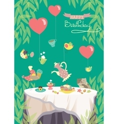Birthday party card cute birds and table with vector