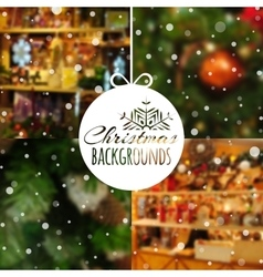 Set of blurred christmas backgrounds vector