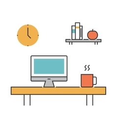 Workplace concept line icons flat vector