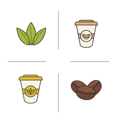 Tea and coffee color icons set vector