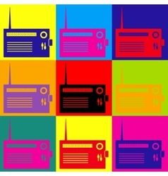 Radio sign pop-art style icons set vector