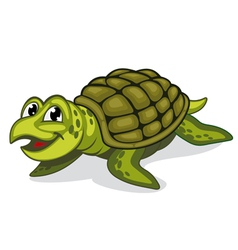 Green smiling turtle reptile vector