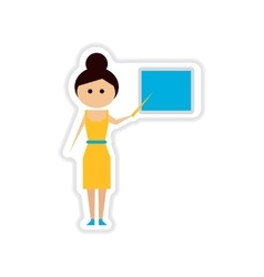 Paper sticker on white background woman teacher vector