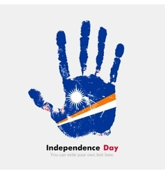 Handprint with the flag of marshall islands in vector