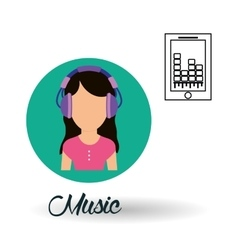 Music design girl icon white background vector