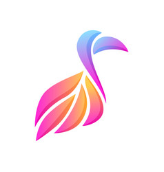 Abstract glowing gradient bird with big beak vector