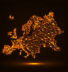 abstract map of of europe with glowing particles vector image