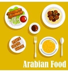 Arabian dishes with kebab falafels halva icon vector image