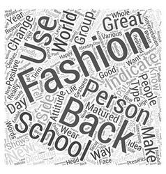 back school fashion Word Cloud Concept vector image vector image