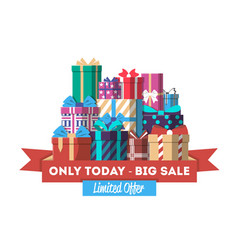 Big sale discount banner with gift box vector