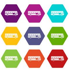 bus icon set color hexahedron vector image