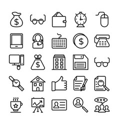 business and office line icons 9 vector image vector image