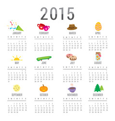 calendar 2015 cartoon cute vector image