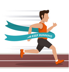 Colorful background with man athlete running in vector