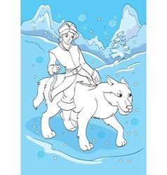 Coloring book of prince ivan rides grey wolf vector