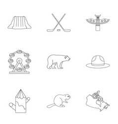 Country of canada icon set outline style vector