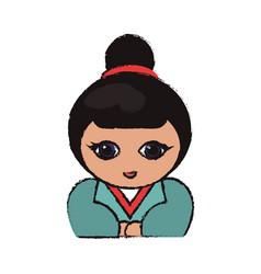Cute portrait kokeshi doll lovely vector