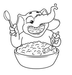 elephant he eats porridge with a spoon vector image vector image