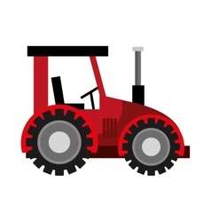 Farm tractor vechicle isolated flat icon vector