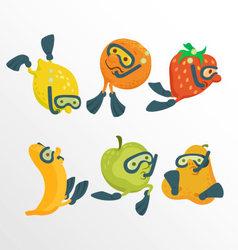 Fruit divers cartoon concept vector