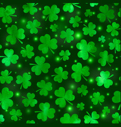 Green clovers seamless pattern vector