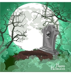Halloween decorations tombstone on halloween card vector