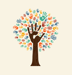 hand print tree of diverse community team vector image