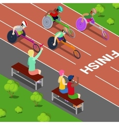Handicapped People Racing in a Competition vector image