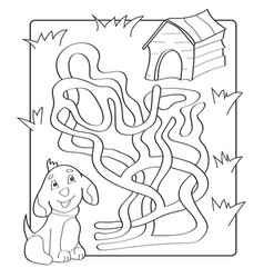 Help puppy find path to his house labyrinth maze vector