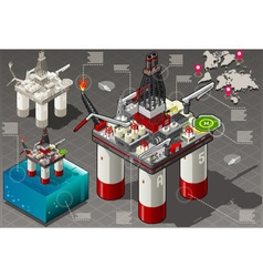 Isometric Infographic Rig Energy vector image