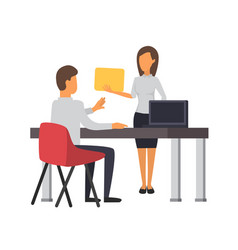 Man andwoman working at office business office vector